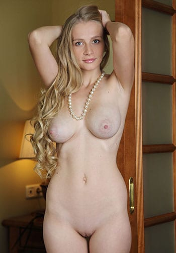 Natural blonde with big natural tits