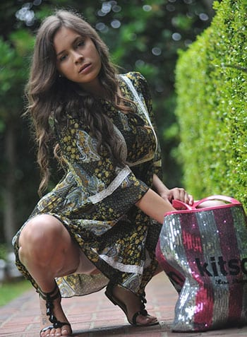 Nina James giving you an upskirt shot